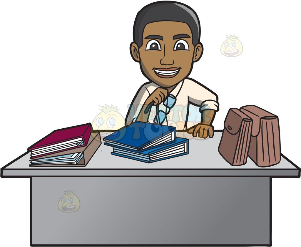 A Happy Black Male Office Worker.