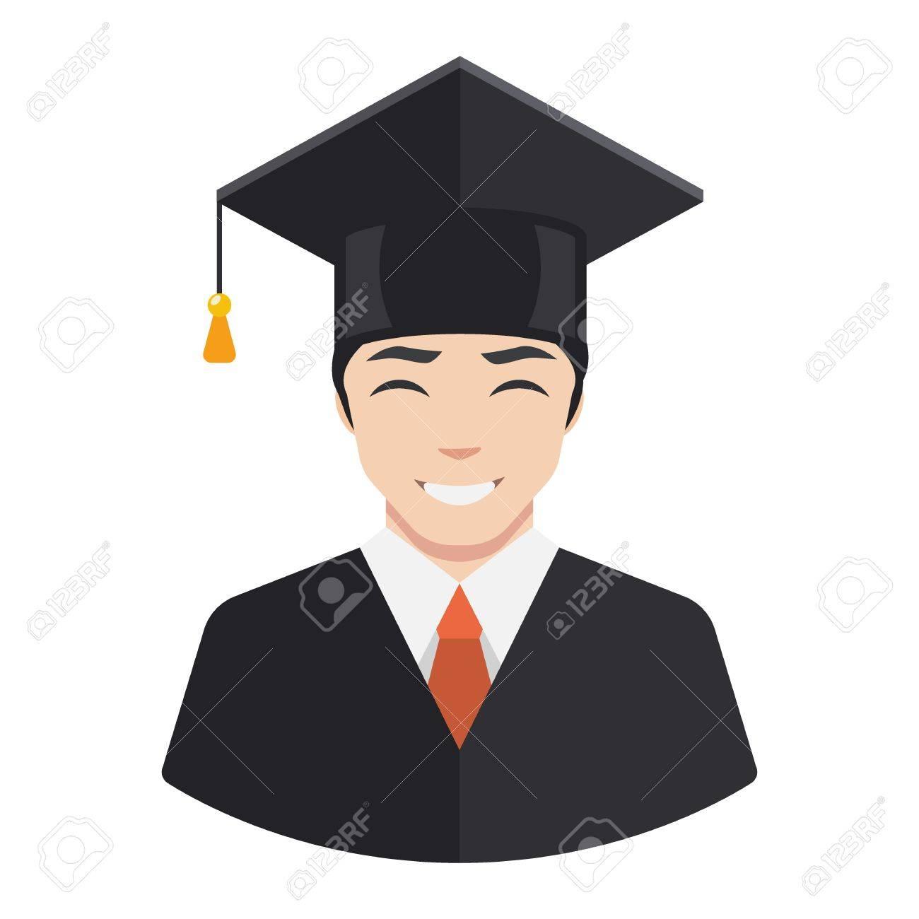 Smiling graduate student male avatar flat icon.