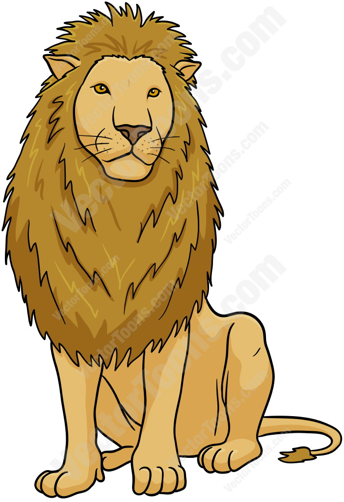 Male Lion Sitting Cartoon Clipart.