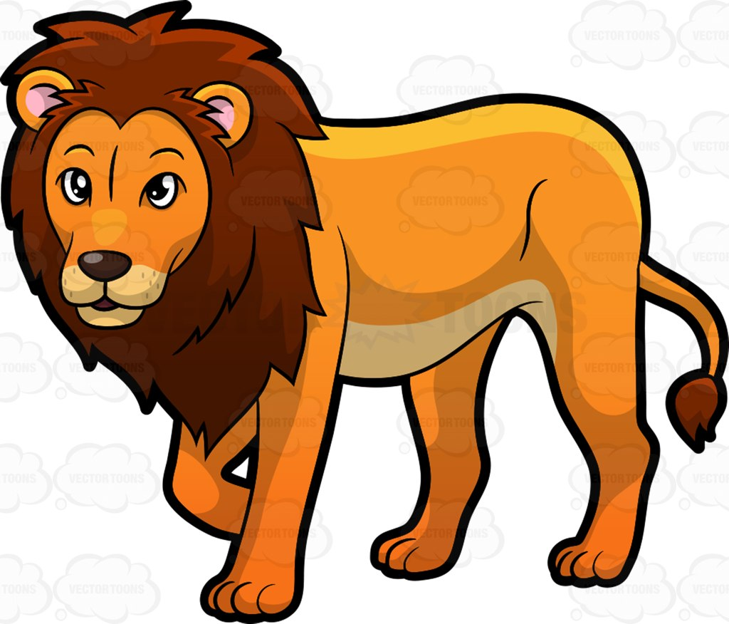 Two Male Lion Clip Art.