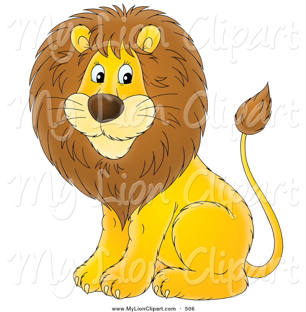 Clipart of a Cartoon Cute Male Lion Looking to the Left by Alex.
