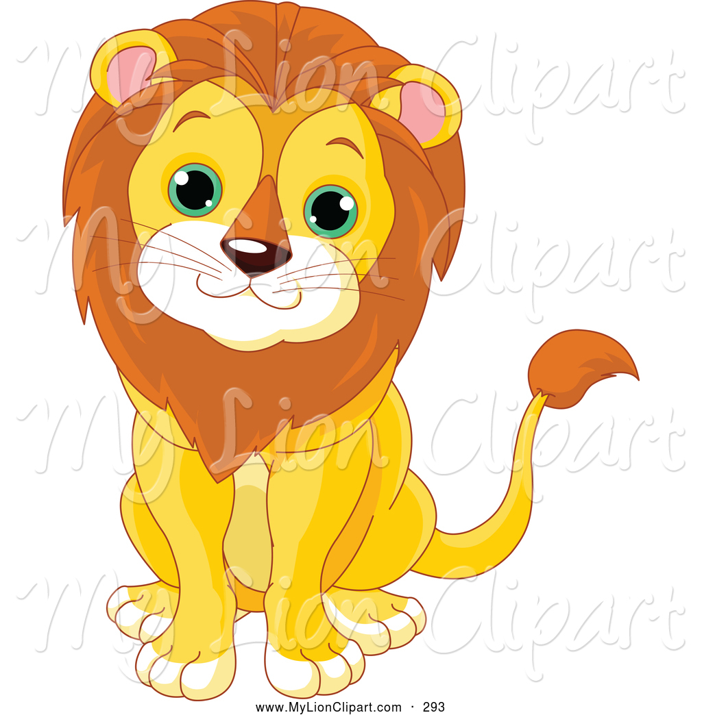 Clipart of a Cheerful Cute Baby Male Lion by Pushkin.