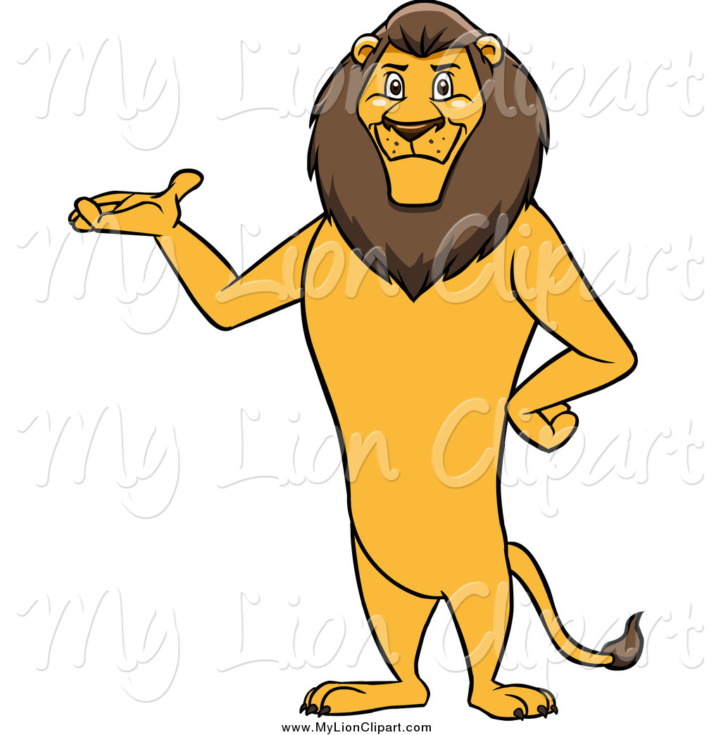 Clipart of a Male Lion Standing and Presenting by Cartoon.