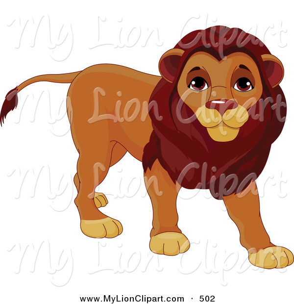 Clipart of a Cute Male Lion Walking to the Right by Pushkin.