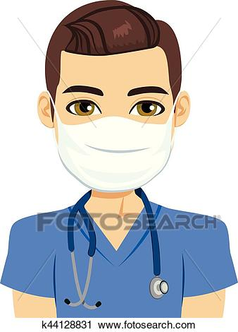 Mask Nurse Male Clipart.