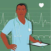 Clipart of Male nurse or doctor k13172345.