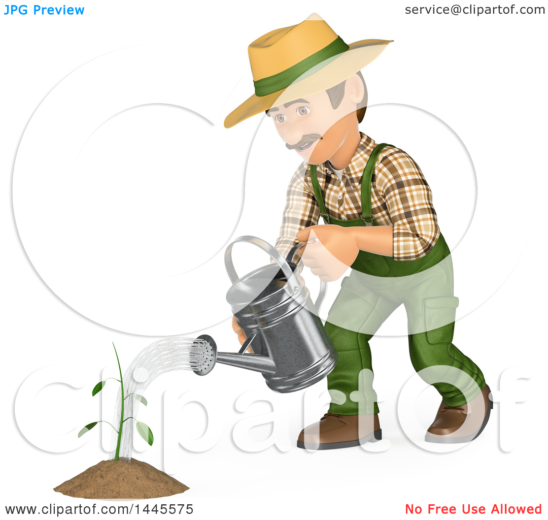 Clipart of a 3d Male Landscaper or Gardener Watering a Seedling.
