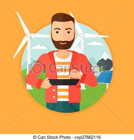 Vector Clip Art of Male worker of solar power plant and wind farm.