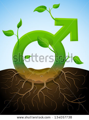 Growing Male Symbol Like Plant With Leaves And Roots. Stylized.