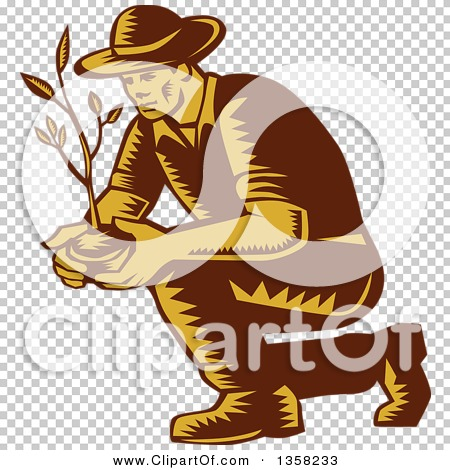 Clipart of a Retro Woodcut Brown and Yellow Male Farmer Planting.