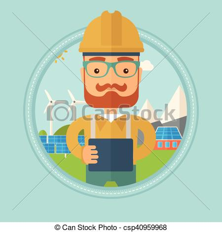 Clip Art Vector of Male worker of solar power plant..