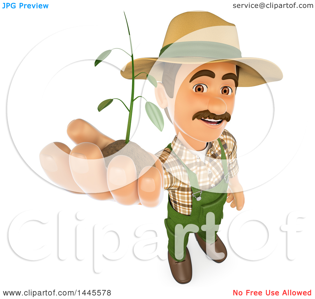 Clipart of a 3d Male Landscaper or Gardener Holding up a Seedling.