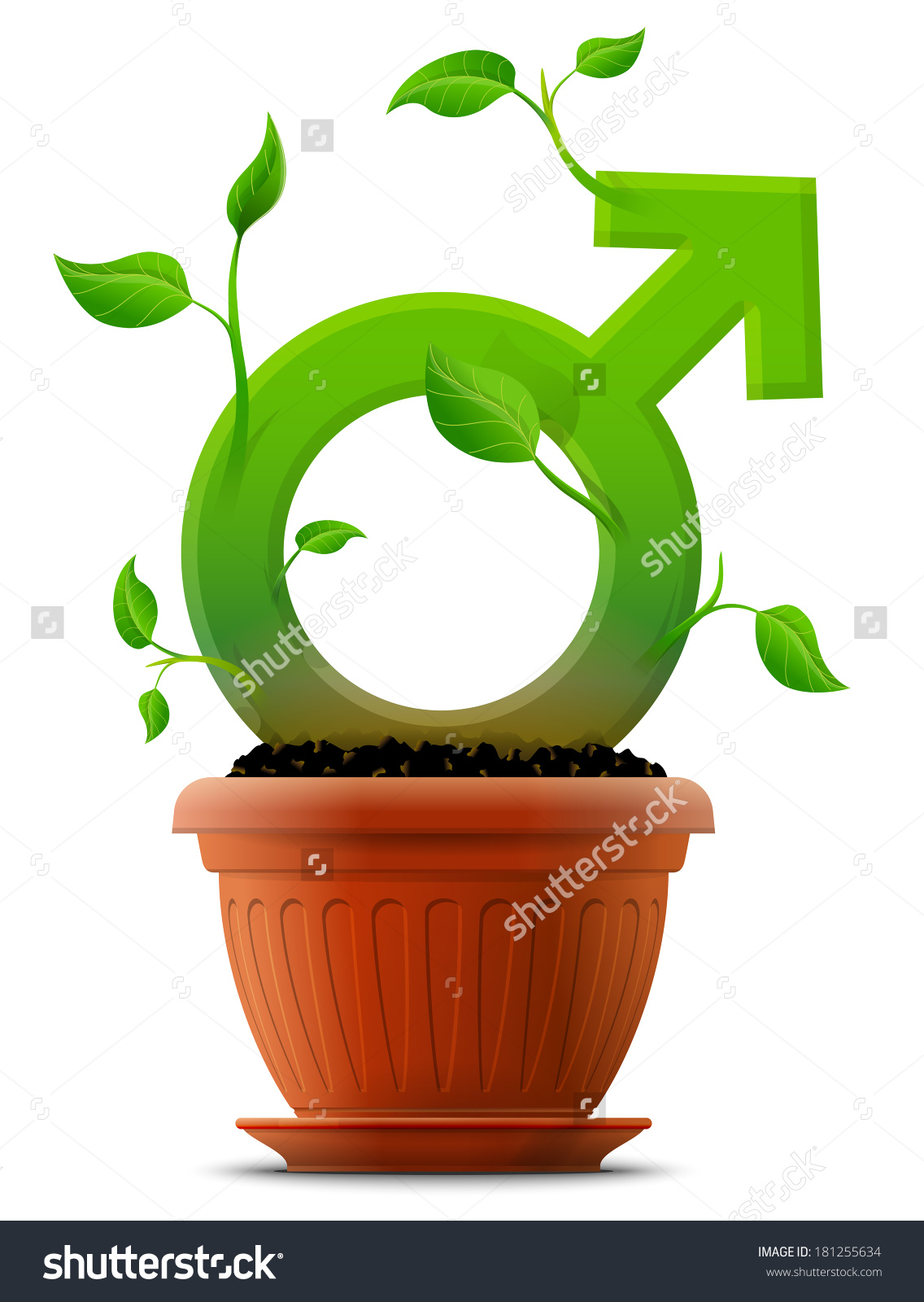 Growing Male Symbol Like Plant Leaves Stock Vector 181255634.