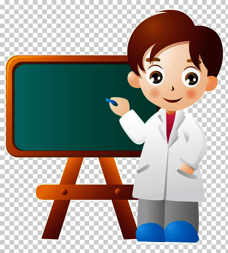 Teacher Cartoon Male, Cartoon doctor, professor beside.