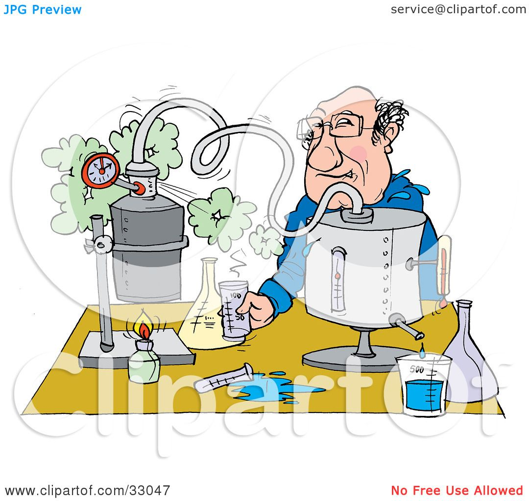 Clipart Illustration of a Male Teacher Conducting A Science.
