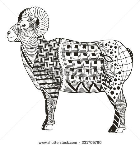 Male rocky mountain bighorn sheep ram standing zentangle stylized.