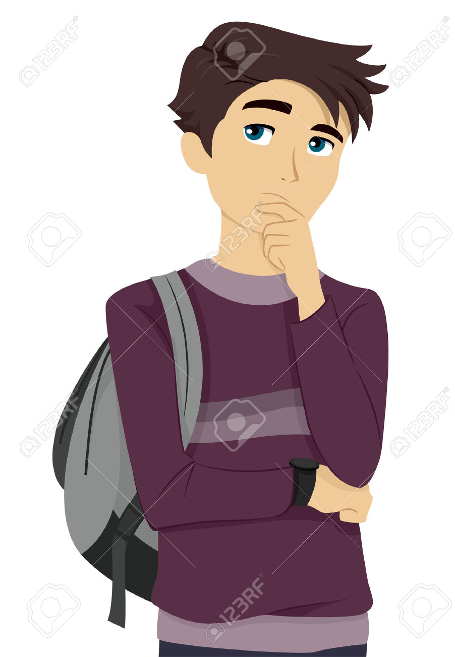 Illustration Of A Male Teenage Student Thinking To Himself Stock.