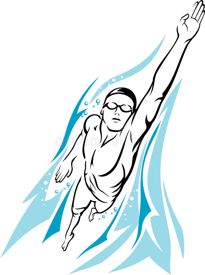 Male Swimmer Stock Illustrations.