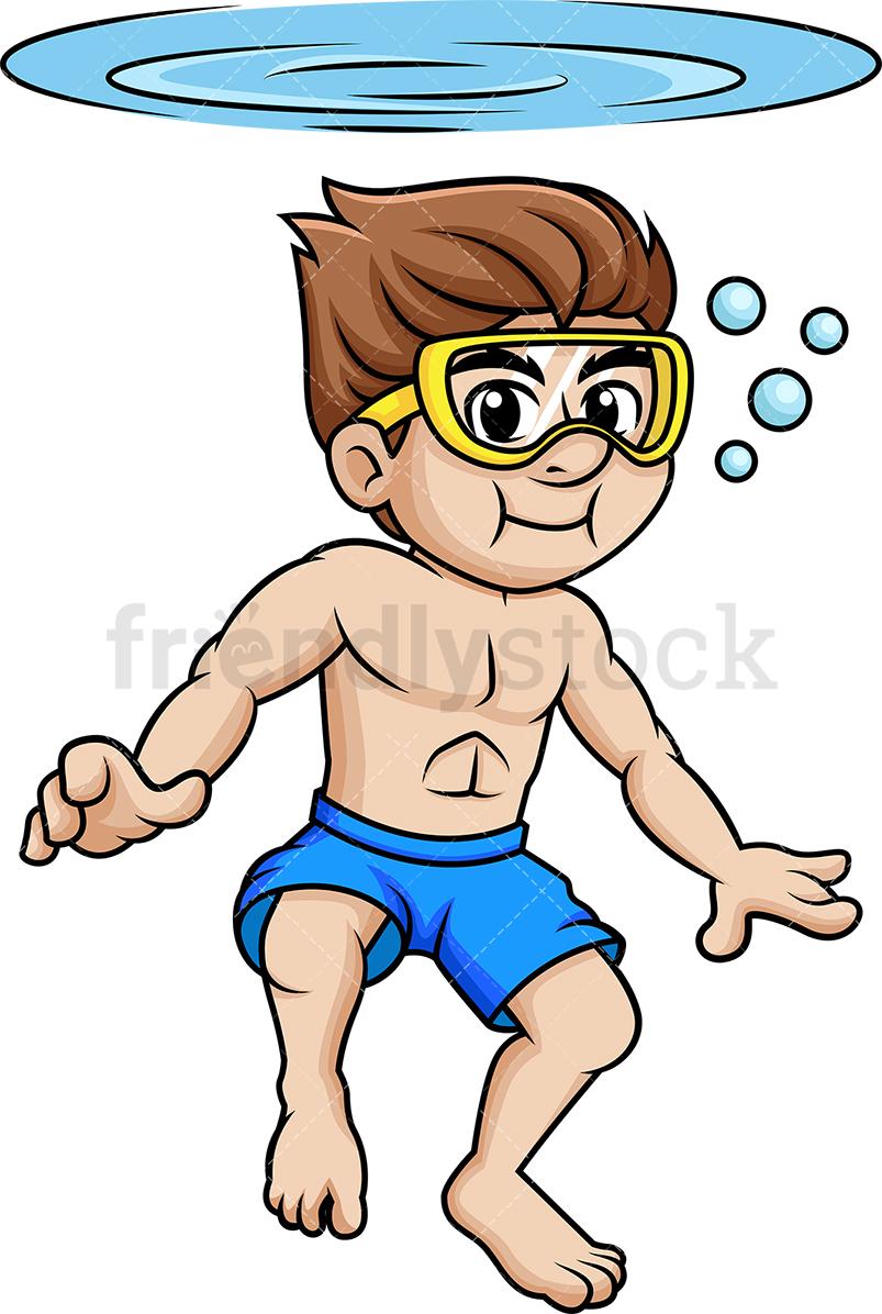 Man Swimming Underwater.