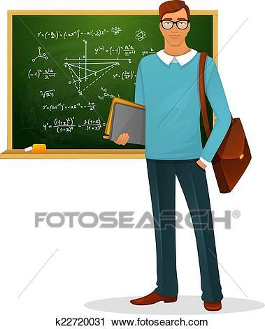 Male teacher with blackboard Clipart.