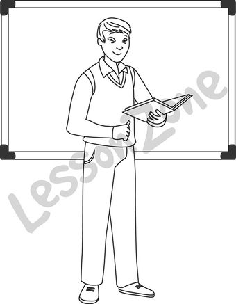Man teacher standing B&W.