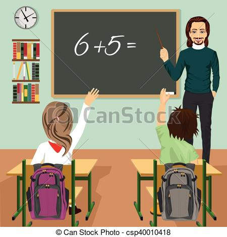 Vector Clip Art of male teacher writing mathematic task on green.