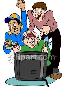 Male Sports Fans Watching a Game on Television Royalty Free.