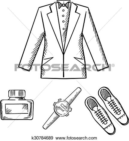 Clip Art of Male formal outfit with jacket, shoes, watch k30784689.