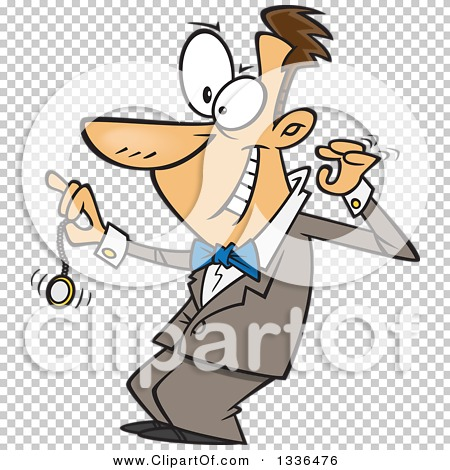 Clipart of a Cartoon Grinning Caucasian Male Hypnotist Swinging a.