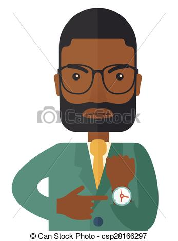 EPS Vectors of Black man is angry pointing his watch..