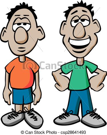 EPS Vectors of Cartoon Males, Happy and Sad.