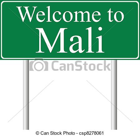 Vector Clip Art of Welcome to Mali, concept road sign isolated on.