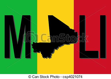 Drawing of Mali text with map on flag illustration csp4021074.