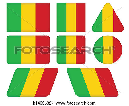 Clip Art of buttons with flag of Mali k14635327.