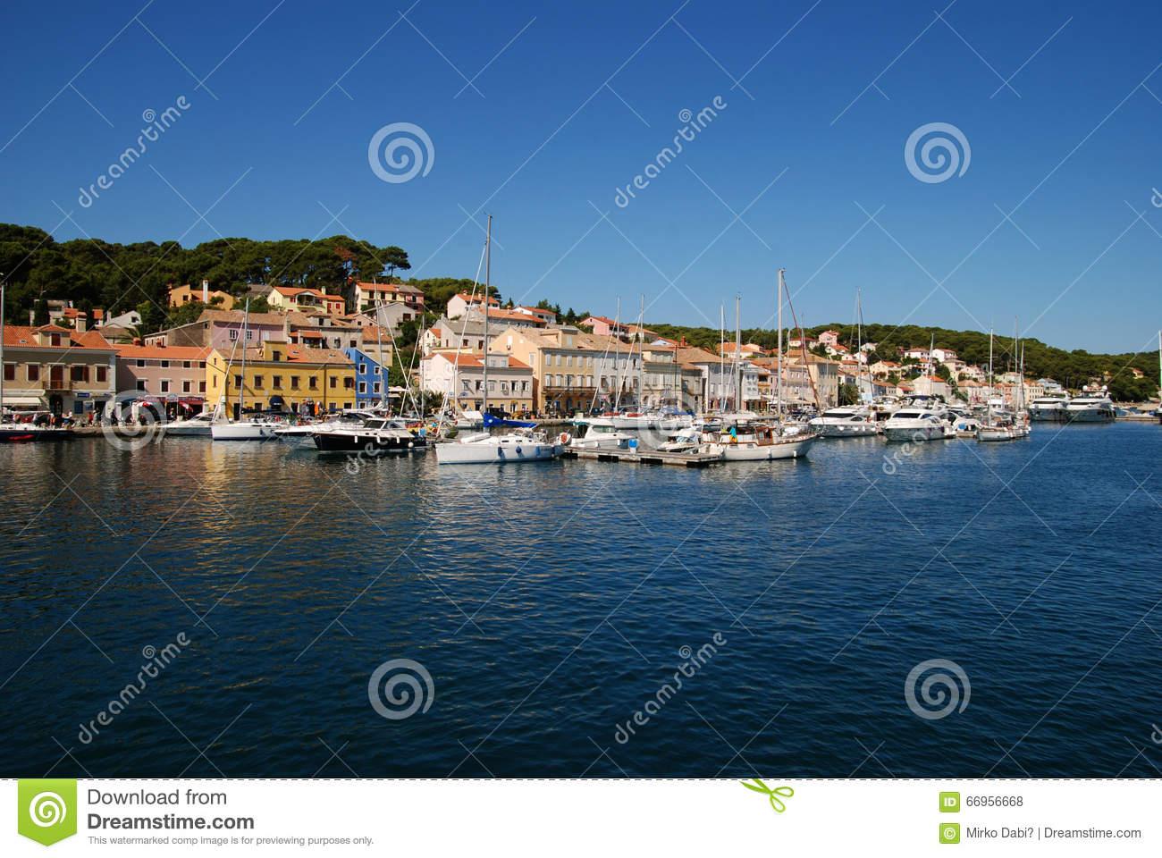 Panoramic View At Mali Losinj Harbour,Croatia Editorial Stock.