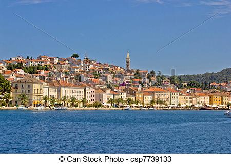 Stock Photos of Adriatic Town of Mali Losinj, view from sea.