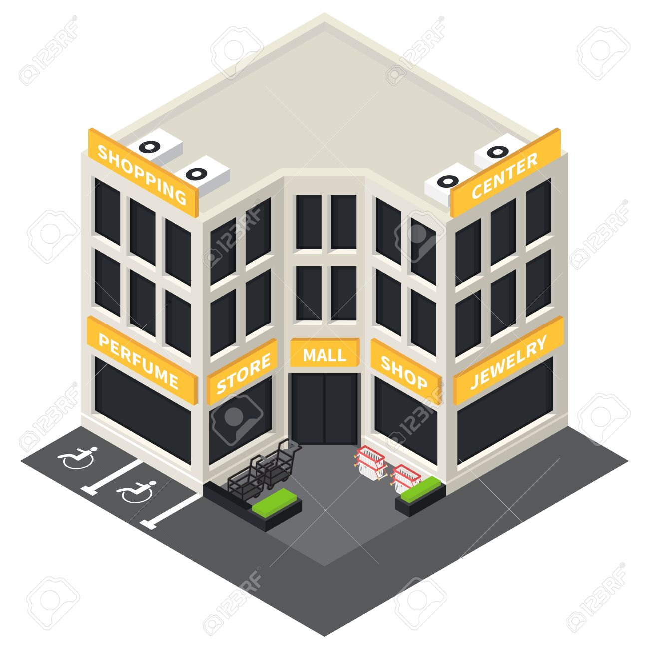 Vector isometric shopping mall building icon. Store 3d model..