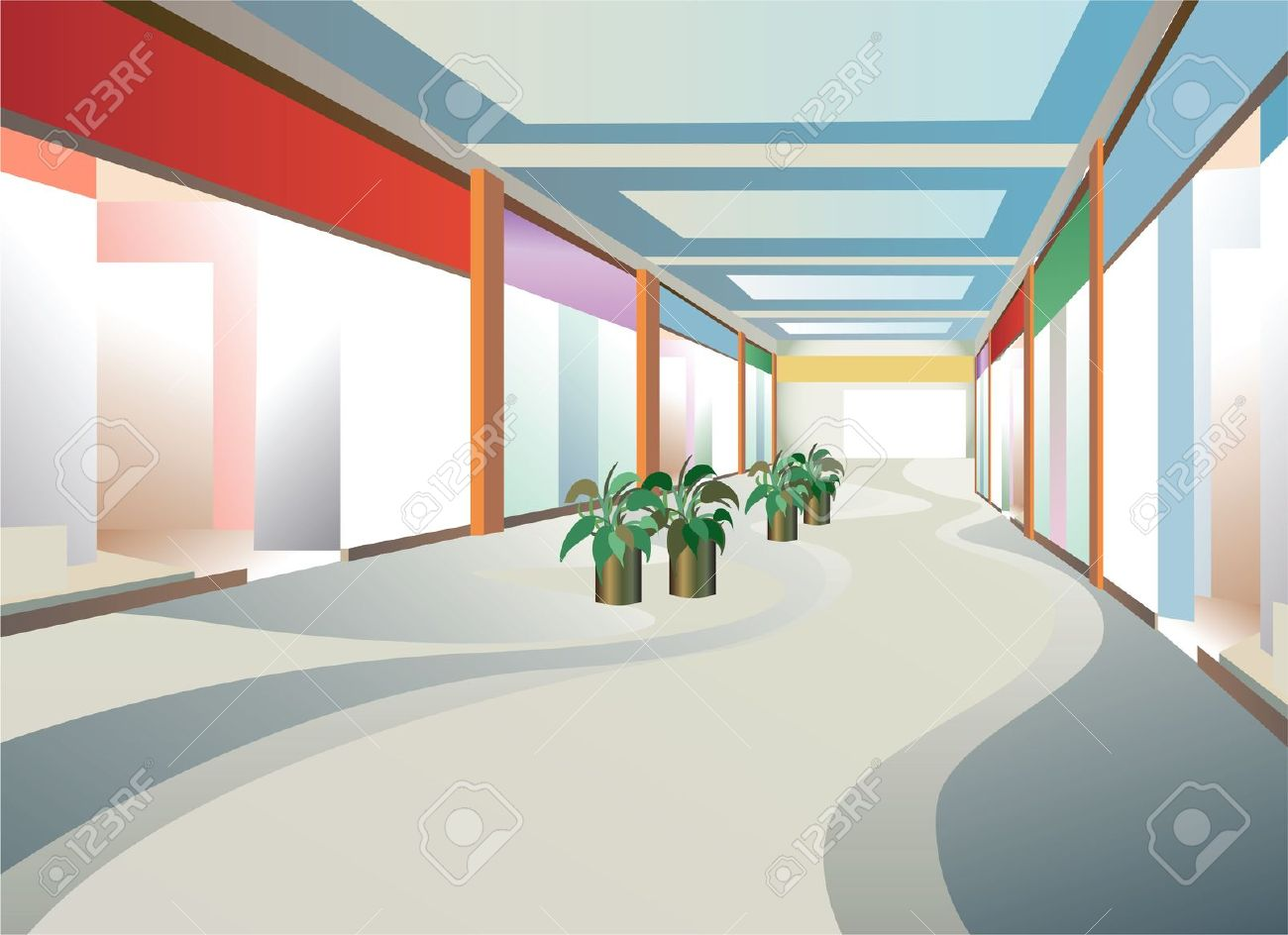 Corridor In Mall With Windows, Vector Royalty Free Cliparts.