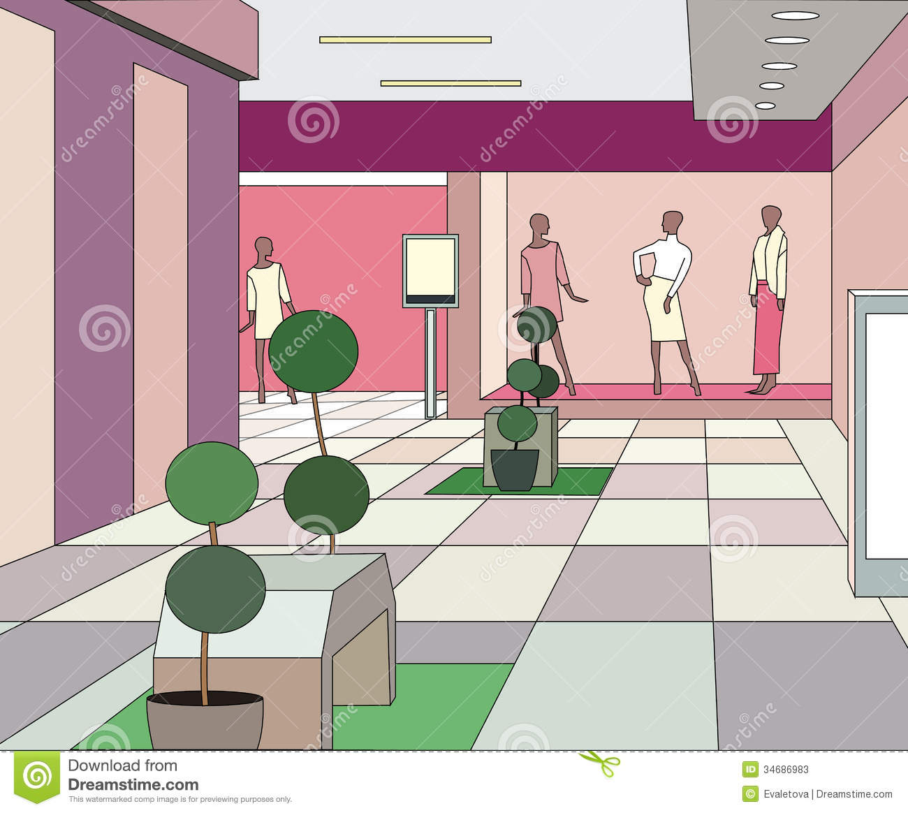 Moderm Mall Interior Stock Photos.