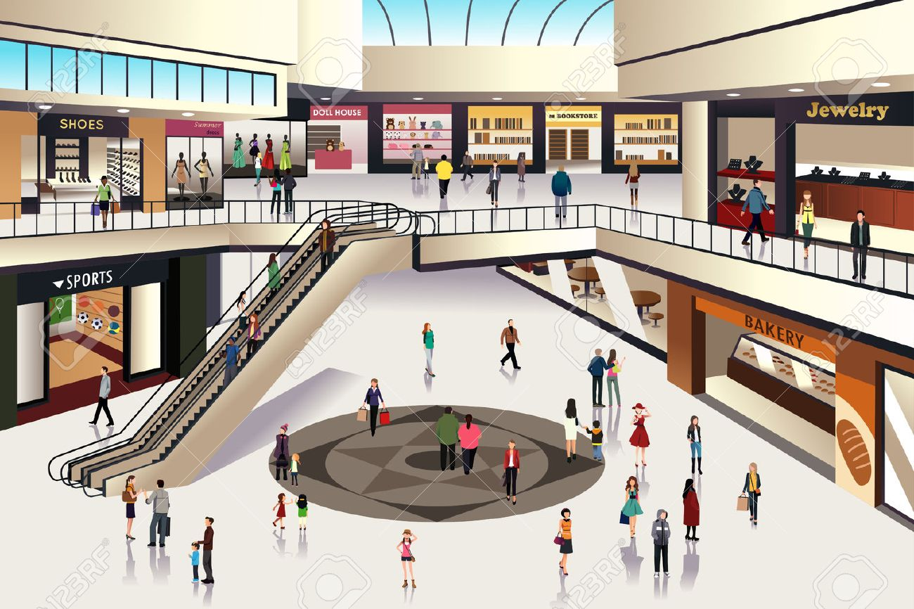 Shopping Mall Outside Clipart.