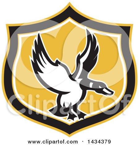 Clipart of a Retro Flying Mallard Duck.