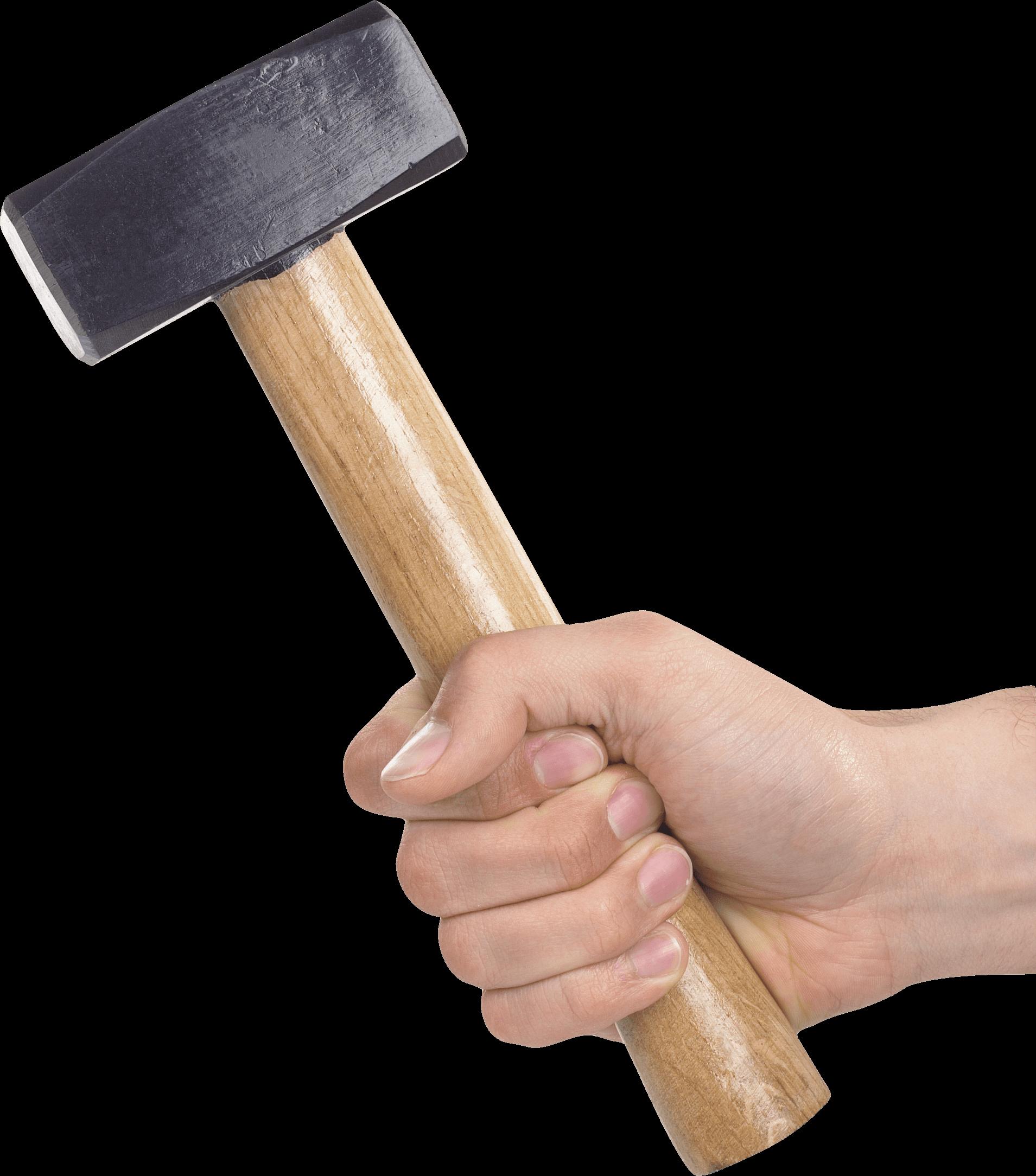 Hand Holding Sledge Hammer transparent PNG.