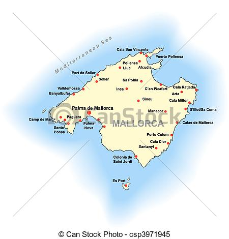 Clipart Vector of Mallorca map.