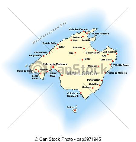 Clipart Vector of Mallorca map.