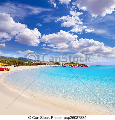 Stock Photos of Majorca Platja Palmanova Portonovo beach in Calvia.