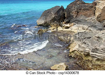 Picture of turquoise rocky beach in mallorca balearic island.
