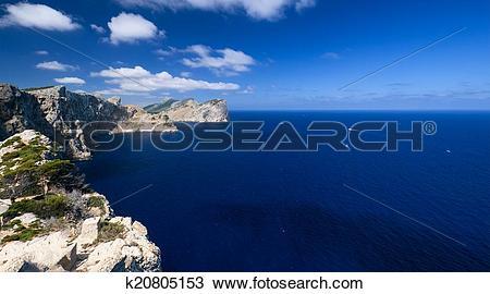 Stock Photo of Coast near Cape Formentor in Mallorca horizontal.