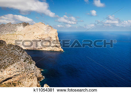 Stock Photography of Sea coast at cape Formentor in the coast of.
