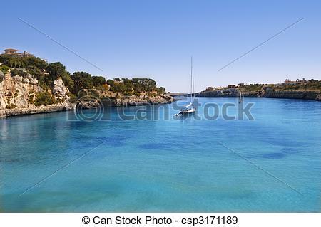 Stock Photographs of Porto Cristo Mallorca beach Balearic islands.