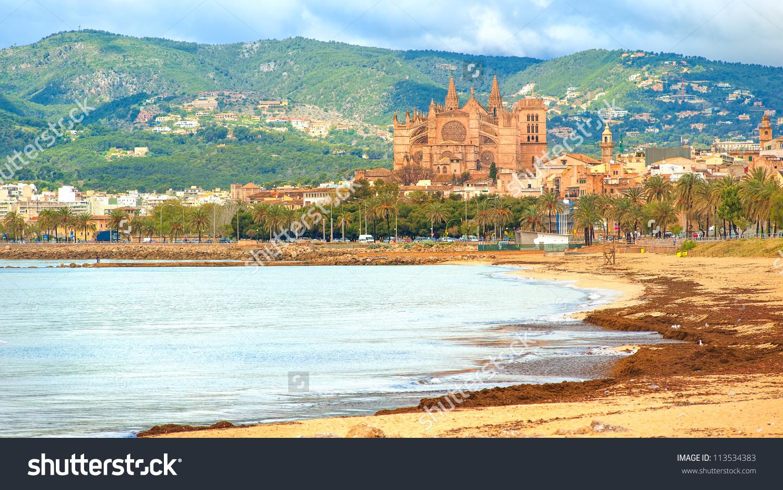 Panoramic View Palma Beach Mallorca Spain Stock Photo 113534383.